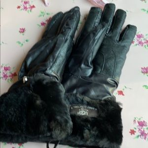 Ugg leather gloves sheepskin trim new